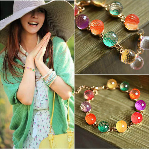 Trendy Bangle Cuff Beautiful Chain Multi Color Crystal Bead Boho Chic Bracelet