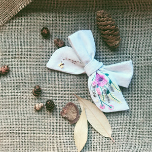 Embroidery Art Hair Bow - Spring