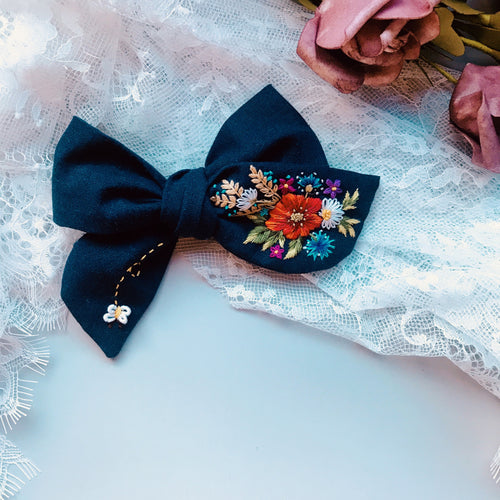Embroidery Art Hair Bow - Navy Lover