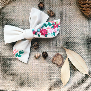 Embroidery Art Hair Bow - Wild Floral