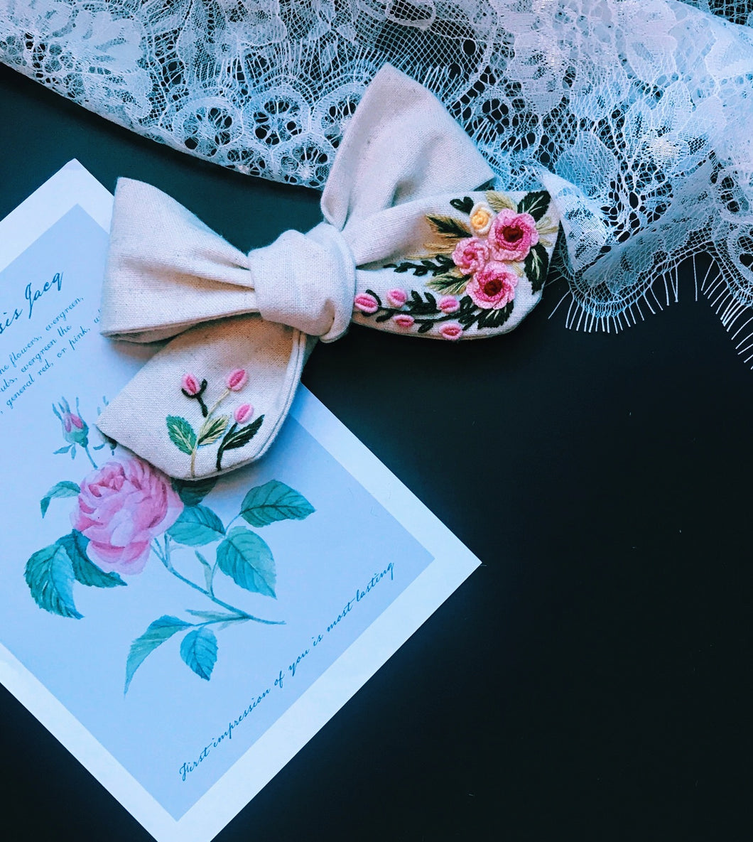 Embroidery Art Hair Bow - Bloom