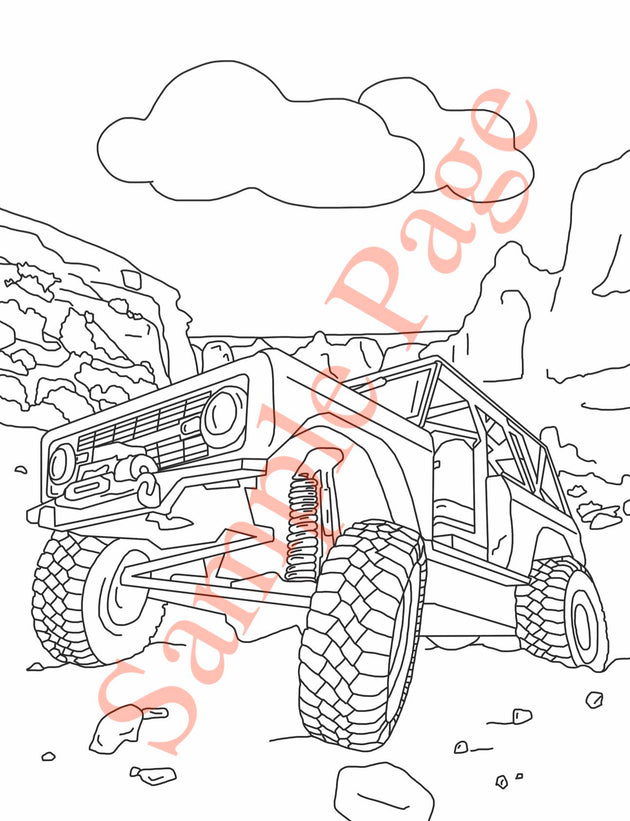 Early Ford Bronco Coloring Page with Bronco in Moab Utah