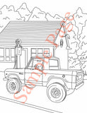 Early Ford Bronco Coloring Page of 1/2 Cab Ford Bronco in front of old gas station