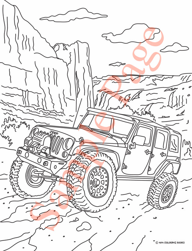 4x4 Jeep Coloring Pages Book Free Shipping