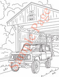Early Ford Bronco Coloring Page with Bronco at Old Covered Bridge