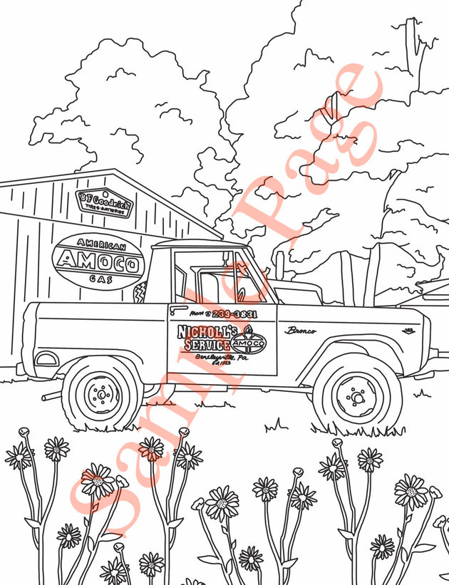 Early Ford Bronco Coloring Page with 1/2 cab Bronco in front of barn