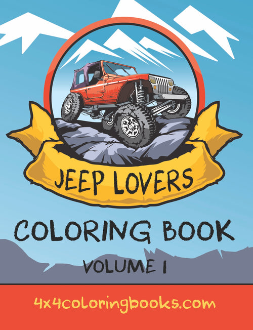 Cover of Jeep Lovers Coloring Book featuring coloring pages of jeeps