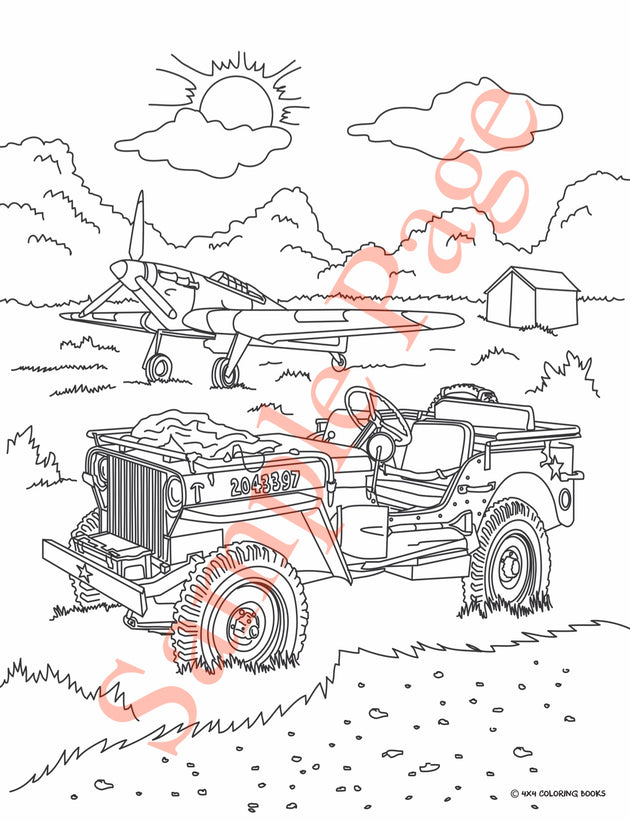 UT Jeep Coloring Page Of Old Military And Airplane