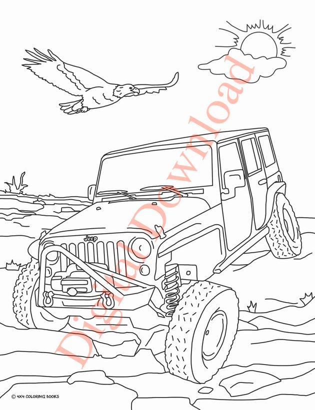Jeep Coloring Book Page 10 Digital Download