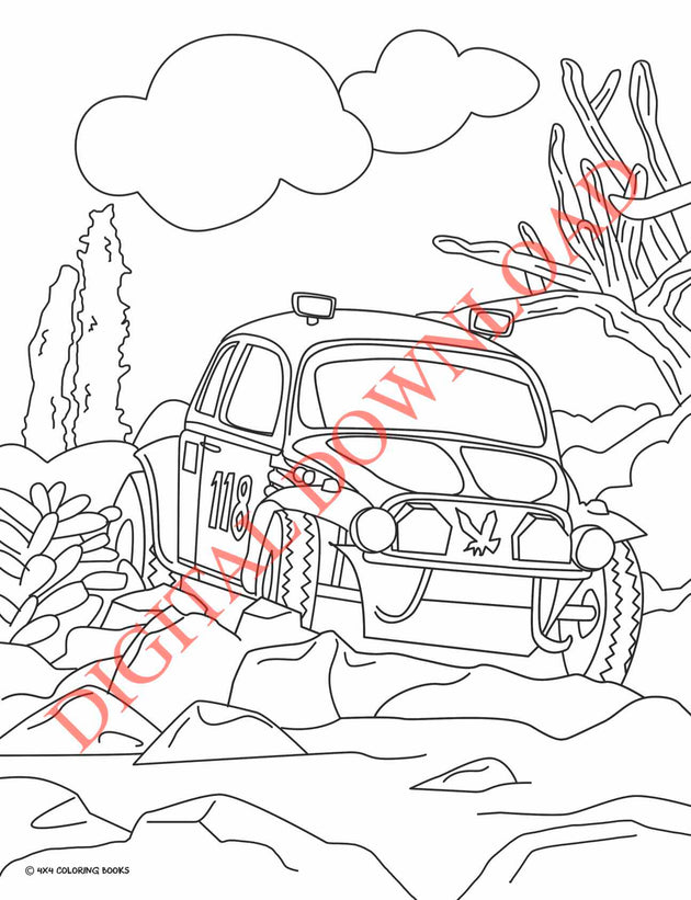 coloring page of a VW racing in the Baja 1000