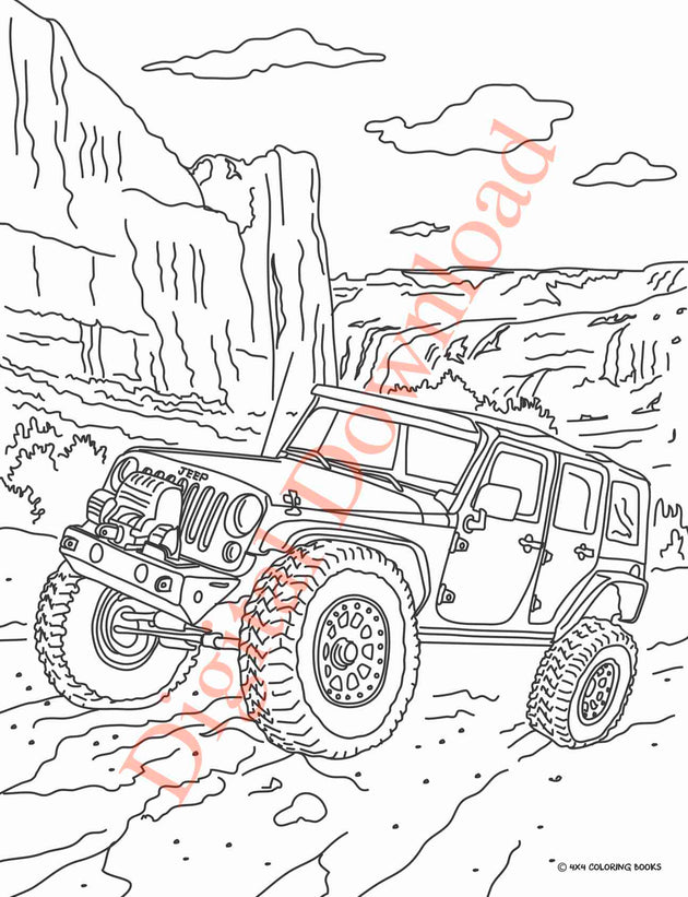 Jeep Coloring Book Page 11 Digital Download