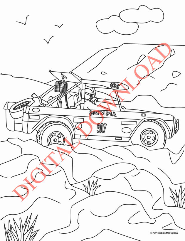 Coloring Page of BIG OLY BRONCO racing in the 1972 Baja 1000