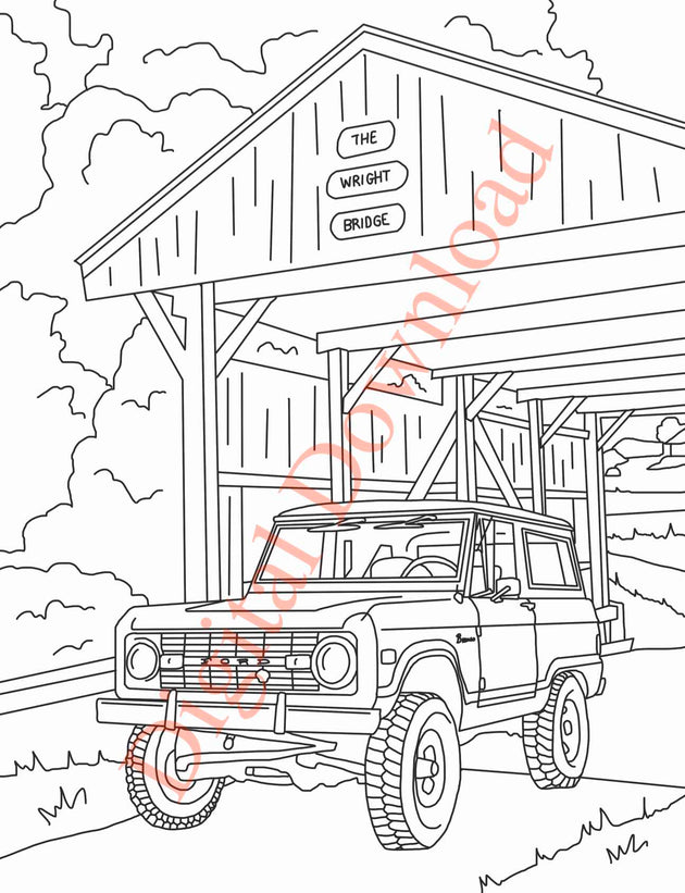 Early Bronco Coloring Book Page 12 Digital Download