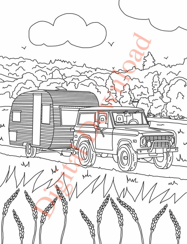 Early Bronco Coloring Book Page 13 Digital Download