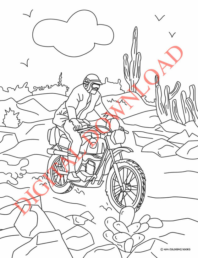 Vintage Off-Road Racing Coloring Book Page 13 Digital Download