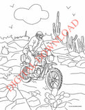 Coloring page of an off-road motorcycle racing in the Baja 1000