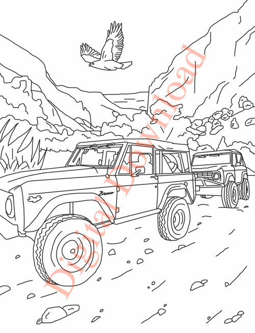 Early Bronco Coloring Book Page 14 Digital Download