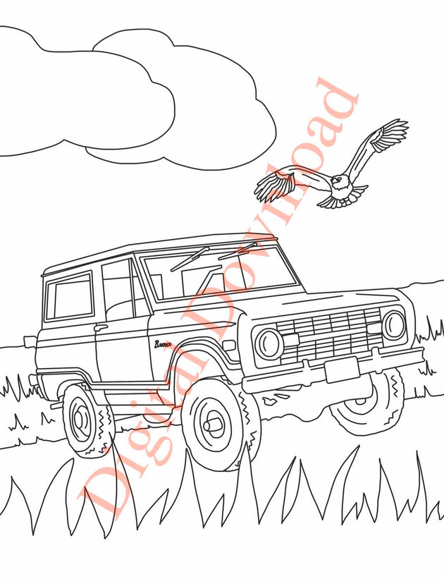 Early Bronco Coloring Book Page 15 Digital Download