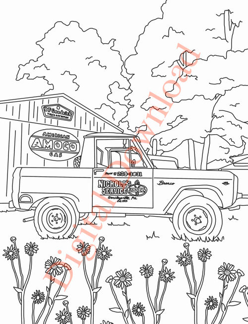 Early Bronco Coloring Book Page 16 Digital Download