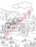 Coloring Page of a VW Thing racing in the Baja 1000
