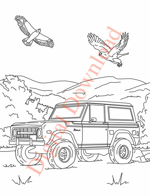 Early Bronco Coloring Book Page 17 Digital Download