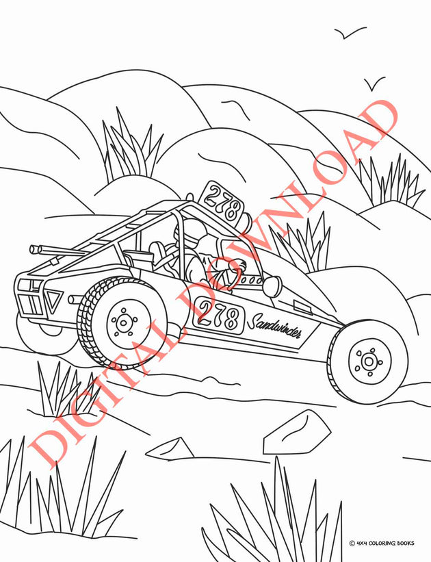 Vintage Off-Road Racing Coloring Book Page 17 Digital Download