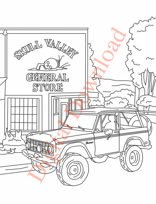 Early Bronco Coloring Book Page 18 Digital Download