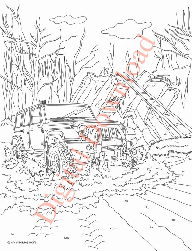 Jeep Coloring Book Page 18 Digital Download