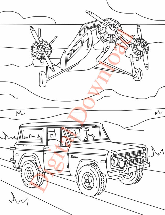 Early Bronco Coloring Book Page 19 Digital Download