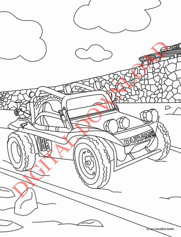 Vintage Off-Road Racing Coloring Book Page 19 Digital Download