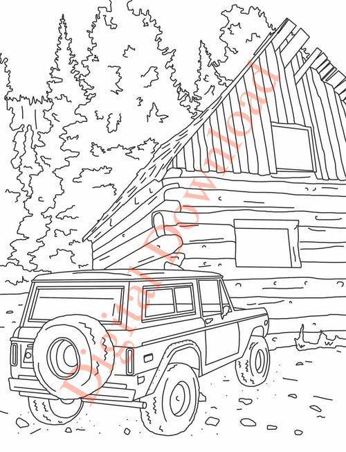 Early Bronco Coloring Page with Bronco in front of an old cabin