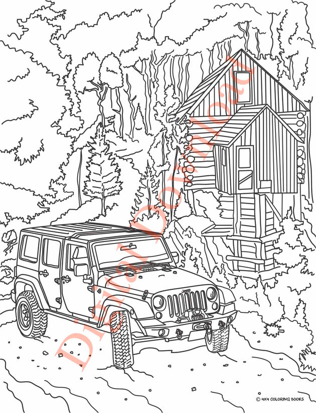 Jeep Coloring Book Page 1 Digital Download