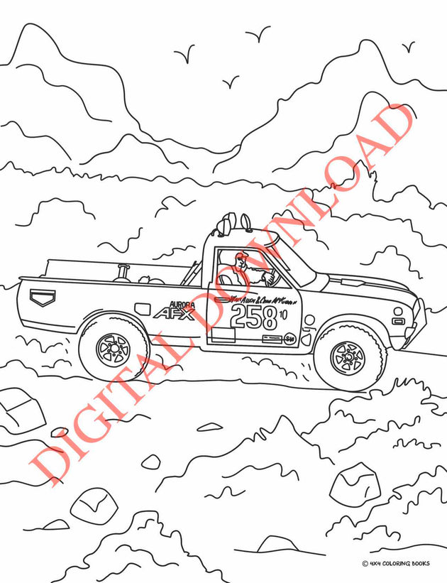 Vintage Off-Road Racing Coloring Book Page 1 Digital Download