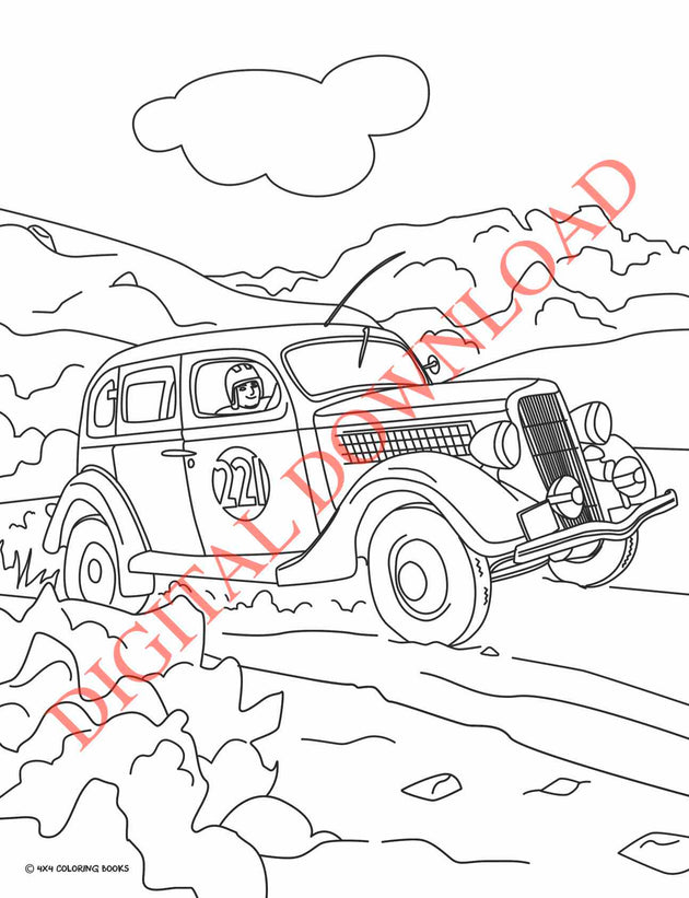 Coloring Page of an Off-road Sedan racing in the Baja 1000