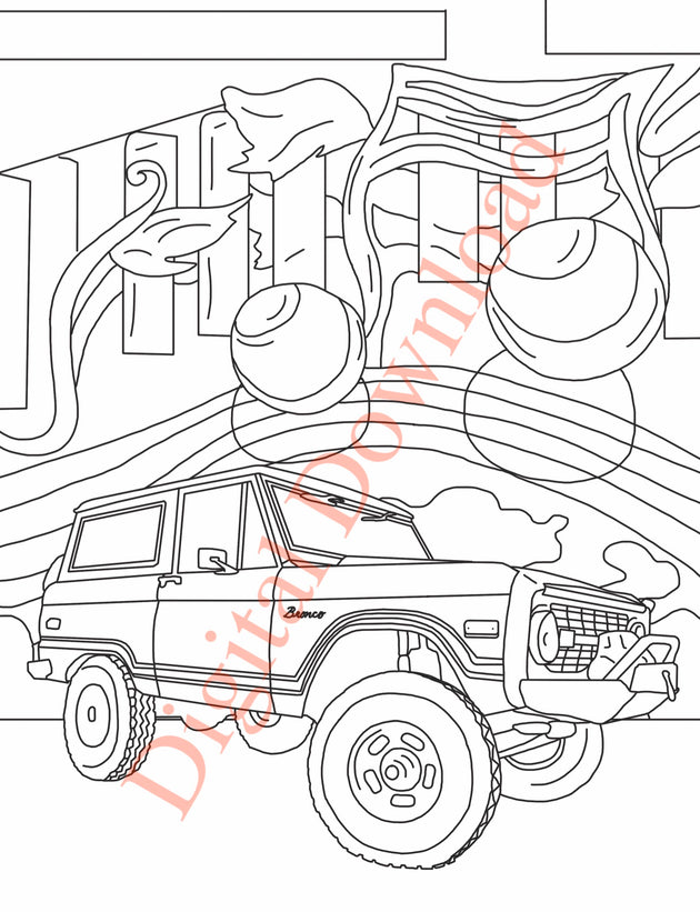 Early Bronco Coloring Book Page 2 Digital Download
