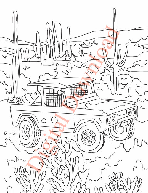 Early Bronco Coloring Book Page 3 Digital Download