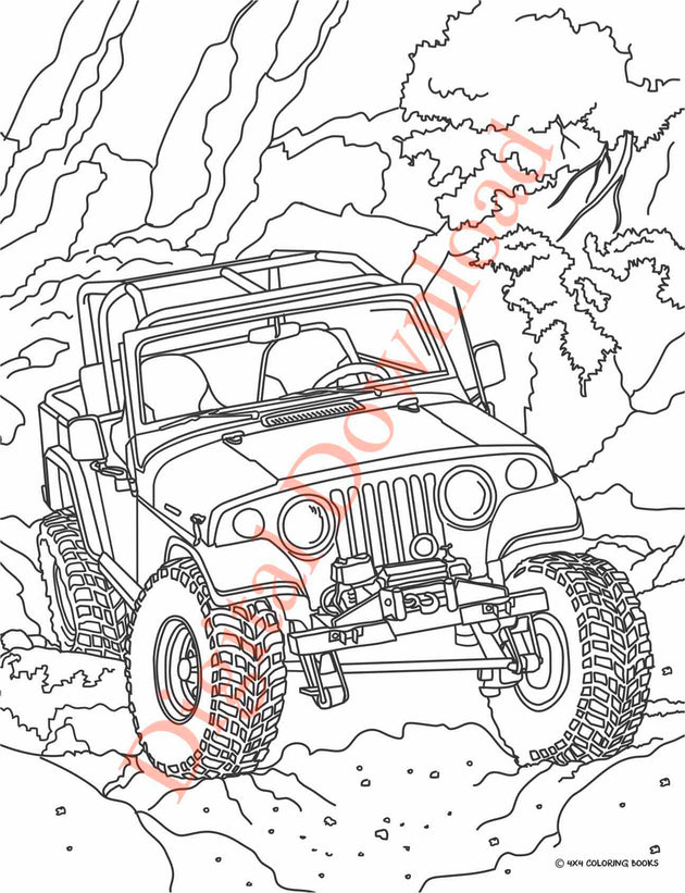 Jeep Coloring Book Page 3 Digital Download