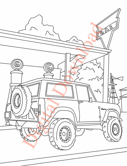 Early Bronco Coloring Book Page 4 Digital Download