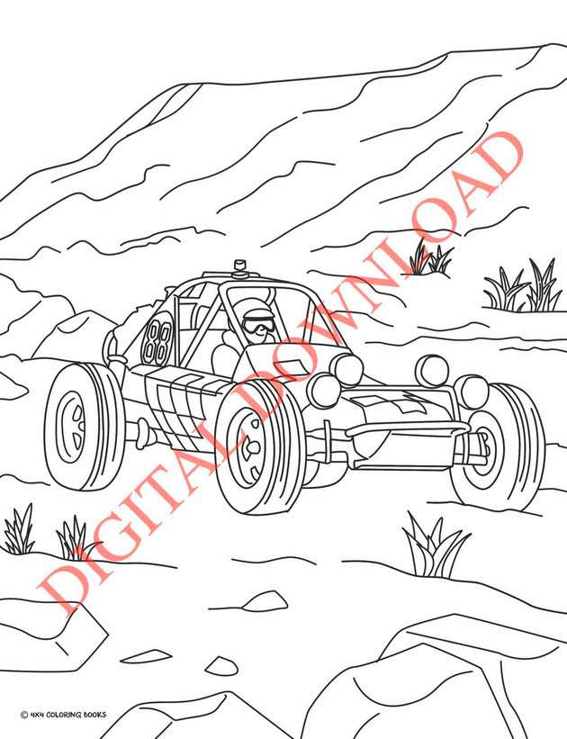 Coloring Page of a Dune buggy racing in the 1972 Baja 1000