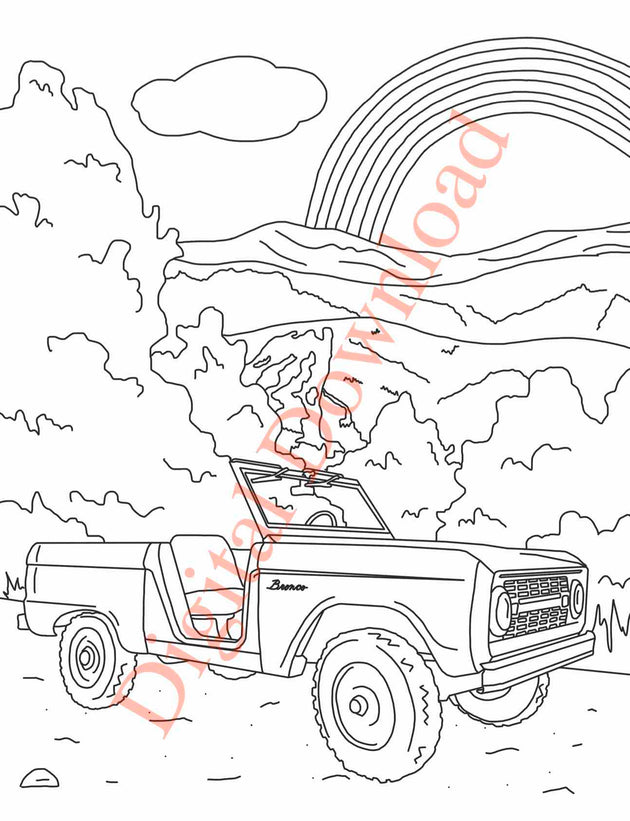 Early Bronco Coloring Book Page 5 Digital Download
