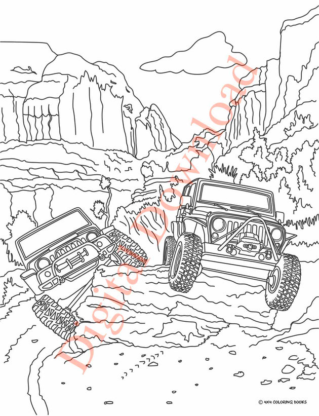 Jeep Coloring Book Page 5 Digital Download