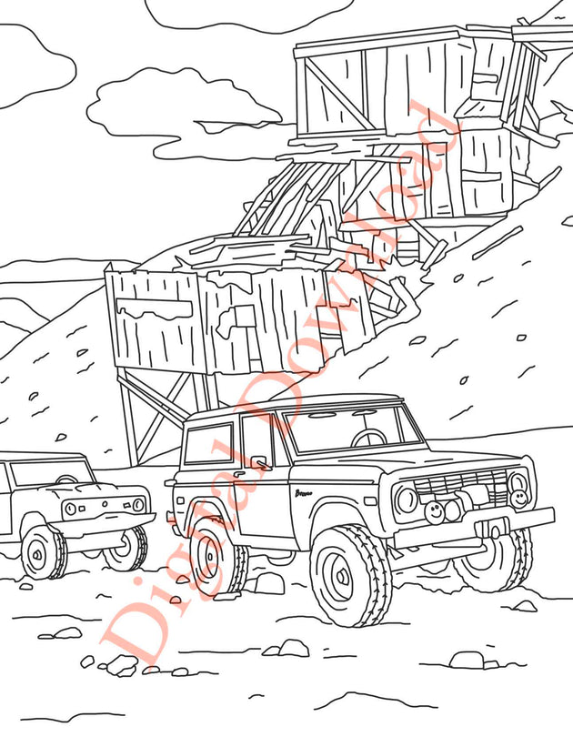 Early Bronco Coloring Book Page 6 Digital Download