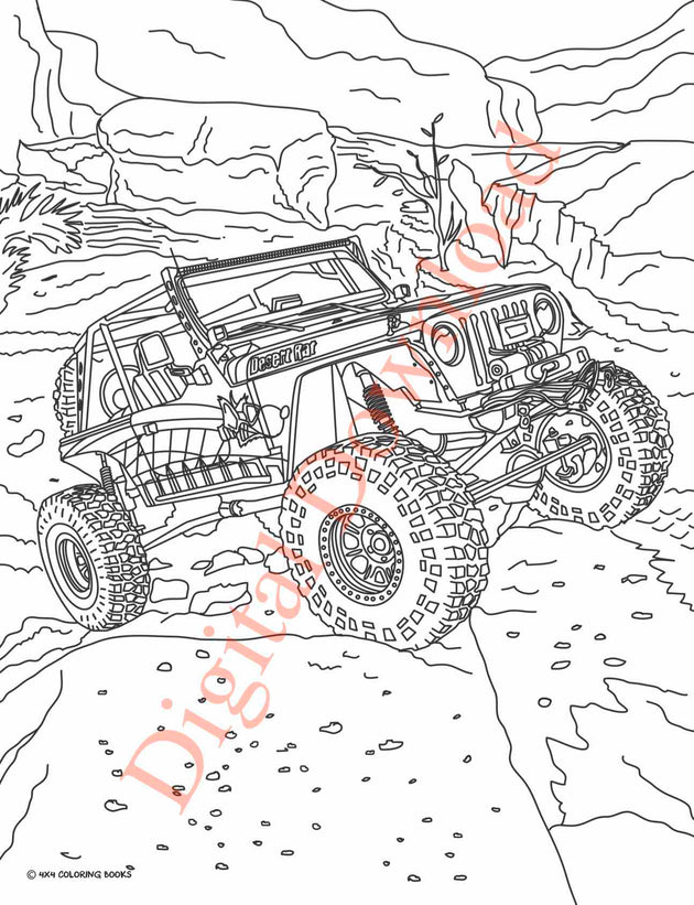 Jeep Coloring Book Page 6 Digital Download
