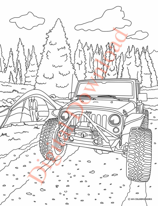 Jeep Coloring Book Page 7 Digital Download