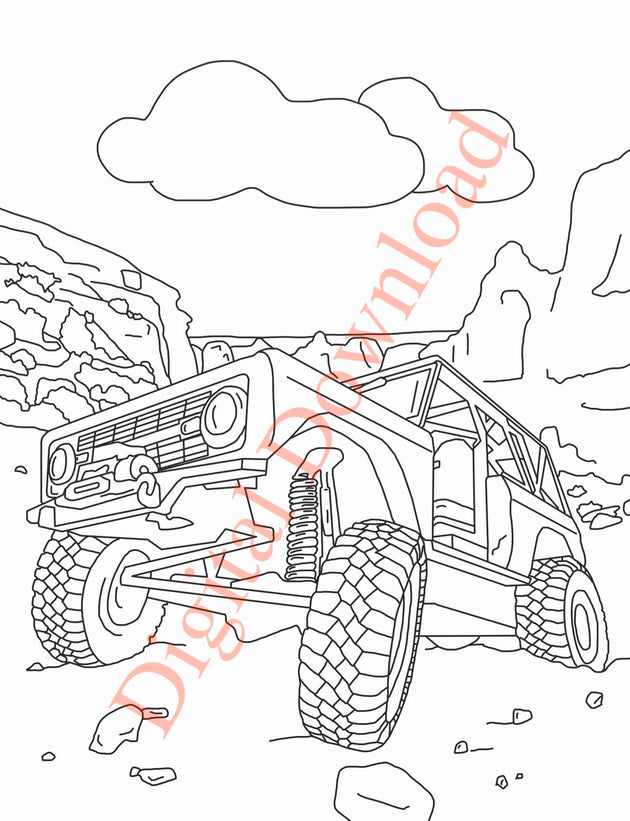 Early Bronco Coloring Book Page 8 Digital Download