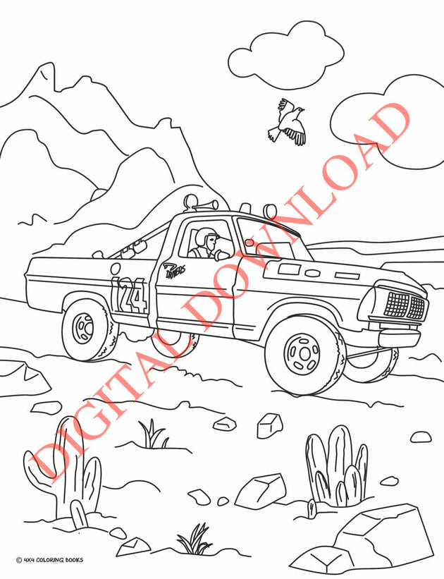 coloring page of an off-road Ford truck racing in the baja 1000