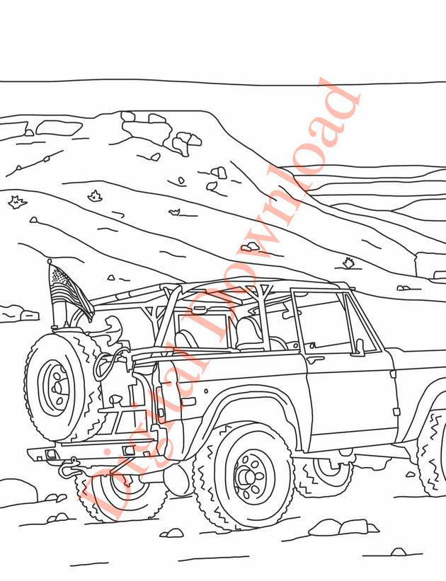 Early Bronco Coloring Book Page 9 Digital Download