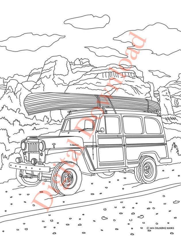 Jeep Coloring Book Page 9 Digital Download