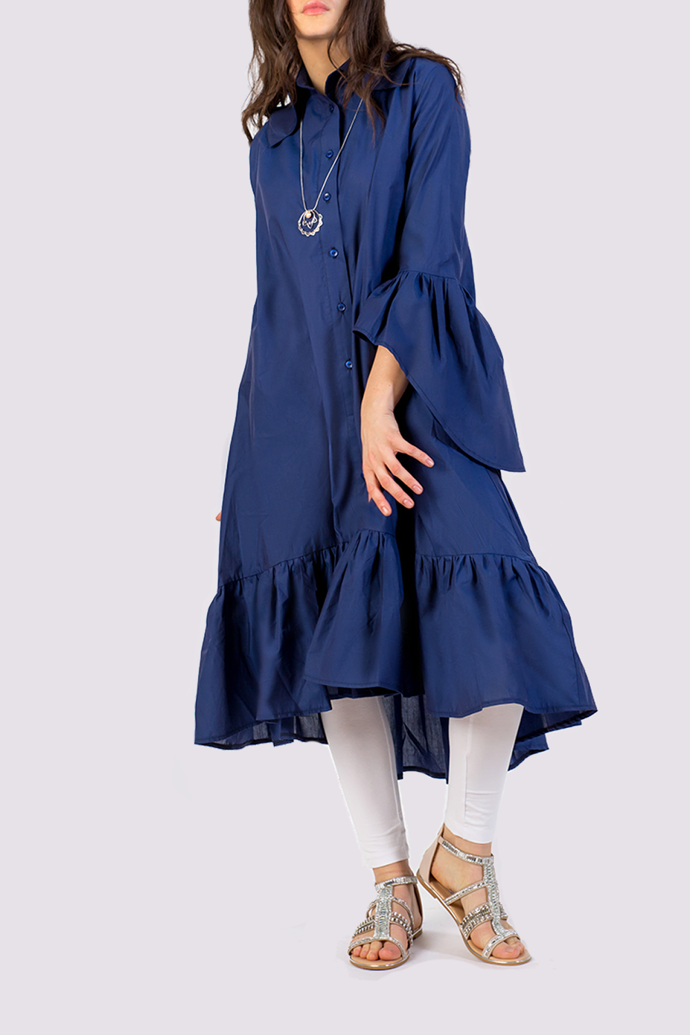 Navy oversized cotton shirtdress by Attitude157