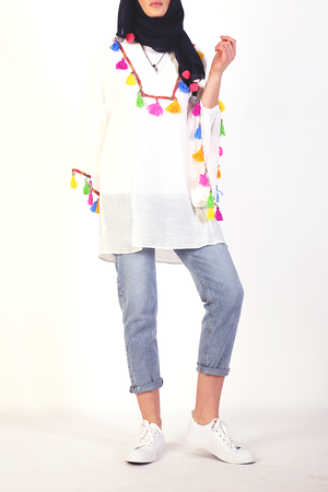 Moutaki tunic at Almaarie with multi-colour tassels.
